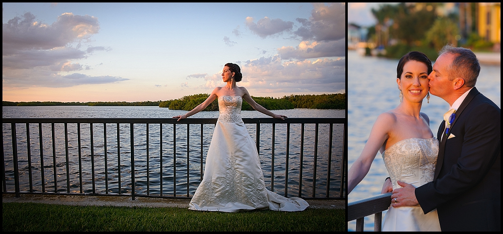 Tampa Bride and Groom Sunset Waterfront Wedding Portrait | DoubleTree Suites by Hilton Tampa Bay Waterfront Wedding Ceremony | Tampa Wedding Photographer Castorina Photography