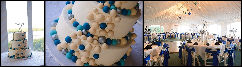 Blue and White Wedding Cake | Outdoor, Tented Waterfront Wedding Reception at DoubleTree Suites by Hilton Tampa Bay | Tampa Wedding Photographer Castorina Photography