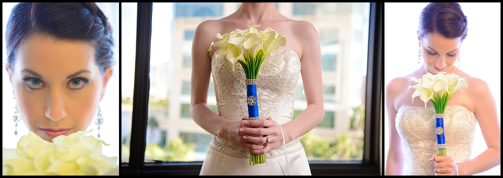 White Calla Lily Wedding Bouquet with Blue Wrap | Tampa Wedding Photographer Castorina Photography
