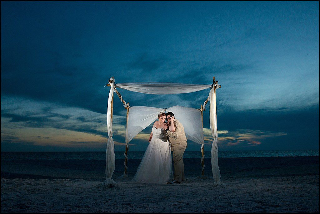 Bride and Groom Twilight Portrait on St. Pete Beach |St. Pete Beach Wedding Photographer Castorina Photography and Films