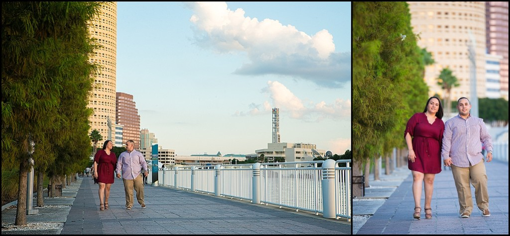 Waterfront Downtown Tampa Engagement Photography on Riverwalk | Tampa Wedding Photographer Castorina Photography