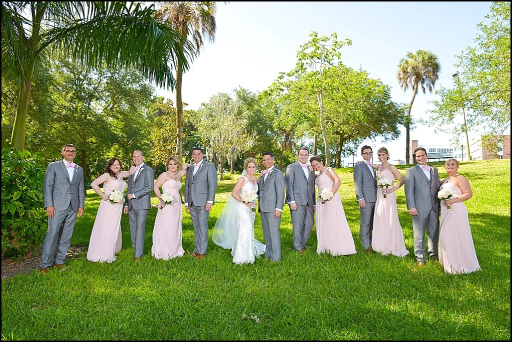 Bridal Party Pink Bridesmaid Dresses and Grey Groomsmen Suits | St. Pete Wedding Photographer Castorina Photography & Films