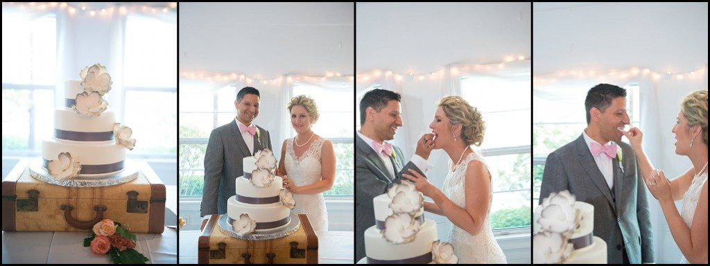 St. Petersburg Bride and Groom Cutting Cake at Gulfport Casino Wedding Venue | St. Pete Wedding Photographer Castorina Photography & Films