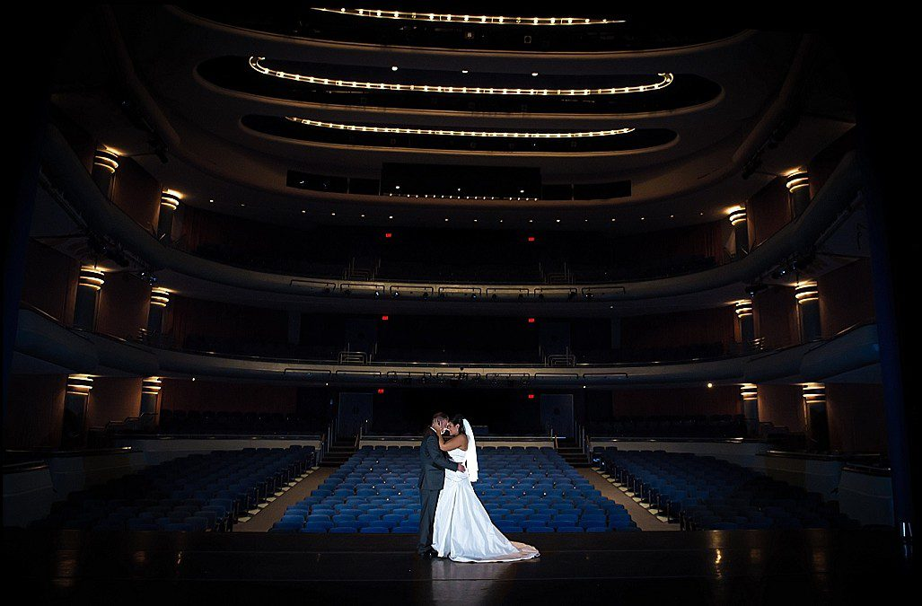 Aqua and Silver Downtown Tampa Wedding | Straz Center for the Performing Arts